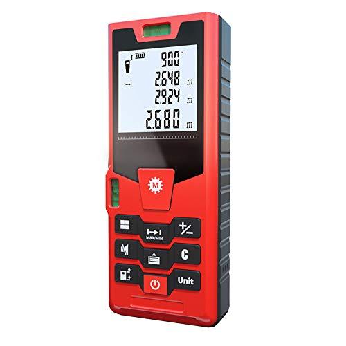 LLMLCF Tragbare Messwerkzeuge Bandmaß LCD, USB-Ladekabel, Hintergrundbeleuchtung größer, 4-Draht-Anzeigefunktion nur Stille, Entfernungsmesser 40m 60m 80m 100m,80M