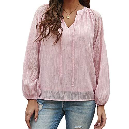 camicia donna coreana Chenlao7gou621 Camicia in Chiffon Donna Estate Jacquard Tinta Unita con Scollo A V Manica Lanterna Top Donna