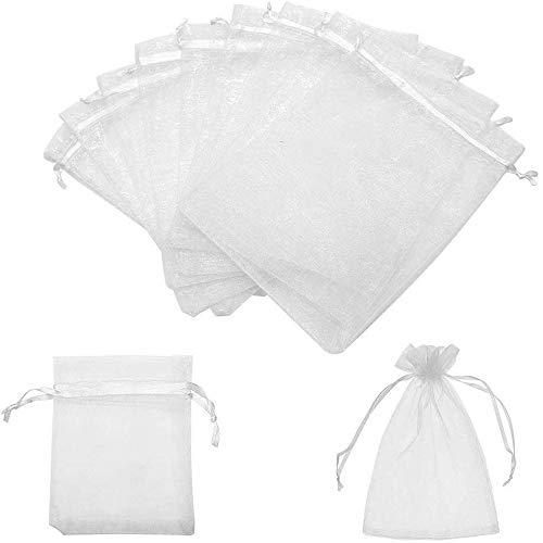VOARGE - 100 sacchettini per gioielli, 7 x 9 cm, in organza, con anello, per matrimoni, compleanni, battesimi, feste, baby shower