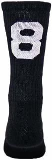 Number One Crew Digit Sports Sock Single Sock, Not Pair ( Black / White # 8 - Medium )