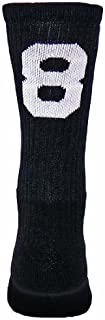Number One Crew Digit Sports Sock Single Sock, Not Pair ( Black / White # 8 - Large )