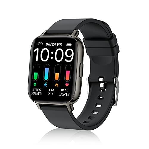 Smartwatch, Orologio Intelligente Touchscreen Intero 1.69   per Uomini Donne, Orologio Fitness con 24 Modalità Sport Impermeabile IP68, Cardiofrequenzimetro Monitor del Sonno Contapassi Calorie, Nero
