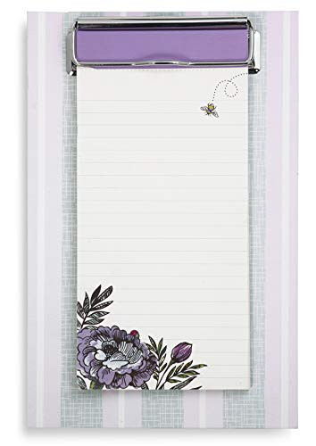 Vera Bradley Purple Floral Small Memo Clipboard with Lined Notepad, Lavender Meadow