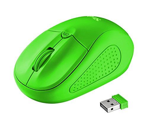 Trust Primo optische Funkmaus (1600 dpi, 4 Tasten, für Rechts- und Linkshänder geeignet) neon grün