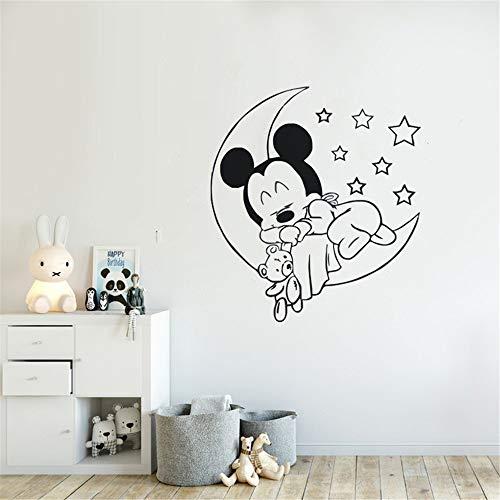 stickers muraux 3d Autocollant Mickey Minnie Mouse Wall Art Sticker Autocollant Chambre D'enfants Sticker Amovible Mignon Mickey Mouse Bébé Dormir Mur Autocollant Pépinière Décoration