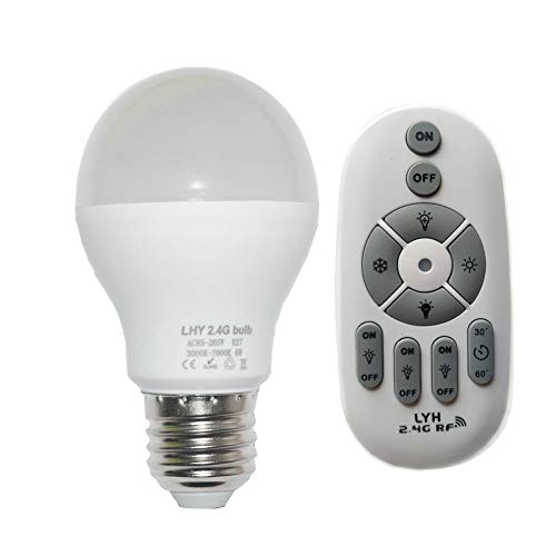 Fjiangyi 6W E27 Smart LED Light Bulb Dimmable with 2.4GHz Wireless 3-Zone Remote Control - Adjustable Color Temperature (Warm/Cool) and Brightness 1 Pack (1 Bulb+1 Remote)