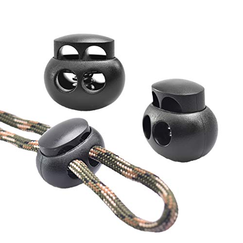 25pcs Spring Cord Lock End Stopper Fastener Slider Toggles Clip Double Hole Round Ball Plastic for Drawstrings Lanyard Paracord Elastic Bungee Shock Cord Rope