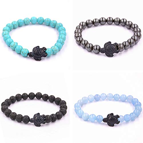Reizteko Turtle Energy Bracelet Tiger-Eye Bracelet with Turtle in Black Turquoise Turtle Bracelet (4 Pcs Set)