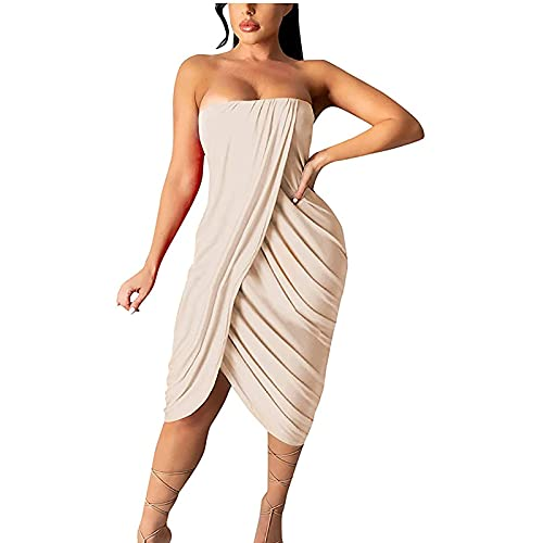 Summer Dress for Women Casual Beach Dresses Ladies Summer Solid Wrapped Chest One Shoulder Sexy Wave Pleated Hip Dress Loose Dinner Date Party Dress Midi Maxi Beach Dresses