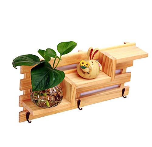 SHENGY Trapezoid 3-laags houten wandrekken woonkamer multi-layer opknoping opslag rekken met haken voor wanddecoratie,2
