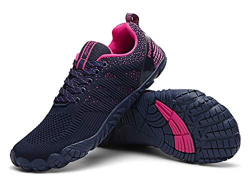 Voovix Herren Trekkingschuhe Damen Wanderschuhe Barfußschuhe Laufschuhe Traillaufschuhe Knit Sneaker Fitnessschuhe im Sommer blue/rose40