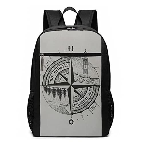 mengmeng Unisex Nature Mountain Kompass Zeichnen Rucksack Daypack 43,2 cm Rucksack Verstellbare Büchertaschen Casual Daypack