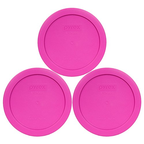 Pyrex 7201-PC Round 4 Cup Storage Lid for Glass Bowls (2, Pink)