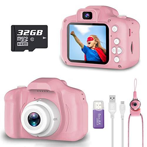 Cámara Digital para Niños, Gayrrnel Cámara de Video Para Niños 2.0'LCD con Tarjeta de 32GB TF, 8MP Recargables Cámara para niños Función Grabable, Nightportrait, Deporte, Fiesta, Escenas de playa (Pink)