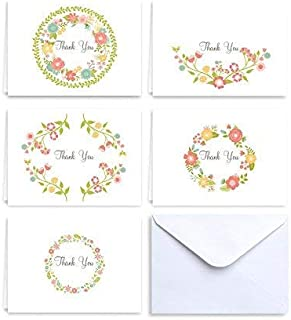 Paper Frenzy Spring Floral Collection Thank You Note Cards & White Envelopes - 25 pack