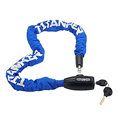 Titanker Bike Chain Lock, 3.3 Feet Security Anti-Theft Bike Lock Chain with Keys Bicycle Chain Lock Bike Locks for Bike, Motorcycle, Bicycle, Door, Gate, Fence, Grill (8mm Thick Chain x 3.3ft, Blue)