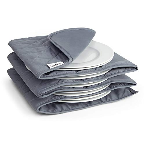 VonShef Electric Plate Warmer, Double Insulated Sleeve Heats up to 10 Full Size Dinner Plates, Removable and Washable Cotton Sleeves Ideal for Dinner Parties, Christmas Dinner or Buffets - Grey
