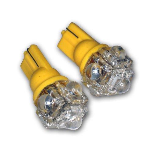 TuningPros LEDCK-T10-Y5 Clock LED Light Bulbs T10 Wedge, 5 Flux LED Yellow 2-pc Set
