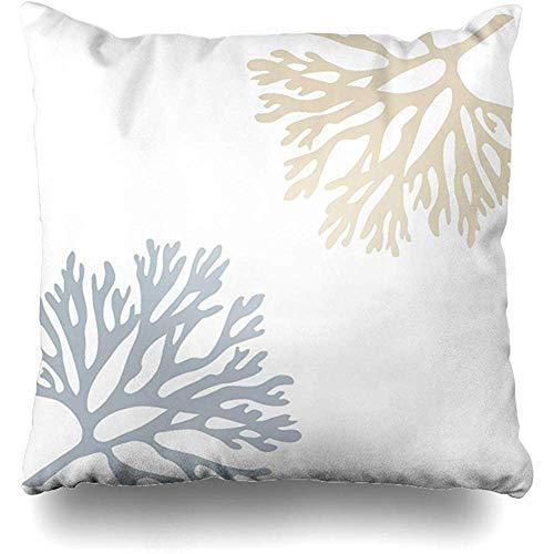 N\A Fundas de Almohada Cojín Azul Marino Mar de Arena Coral Hues Slip Pillows Sofa Cuadrado Fundas de cojín Lindas Fundas de Almohada