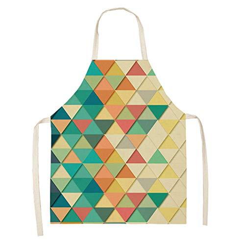 HNLHLY Delantales Delantal De Lino De Algodón Estampado Geométrico Colorido Delantal De Cocina Sin Mangas Con Patrón De Triángulo Para Cocinar Baberos De Cintura Para Hornear-8_Los 47X38Cm