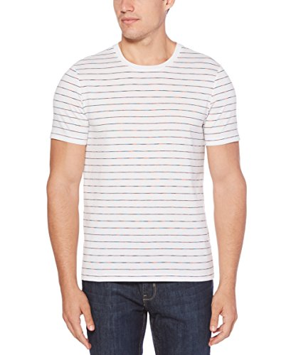 Perry Ellis Men's Space Dye Striped Crew, Bright White, Extra Extra Large