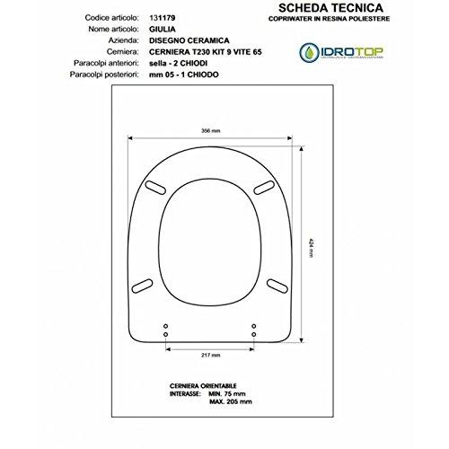 ACB/COLBAM WC-bril van hout gecoat met polyester voor Julia design keramiek wit ritssluiting goud
