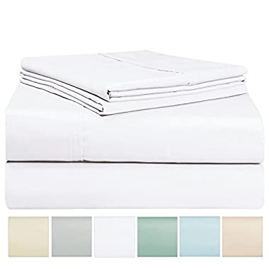 400 Thread Count Sheet Set, 100% Long Staple Cotton White Queen Sheets, Sateen Weave Bed Sheets fit upto 17 inch Deep Pockets, 4Pc Set by Pizuna Linens (White Queen 100% Cotton Sheet Set)