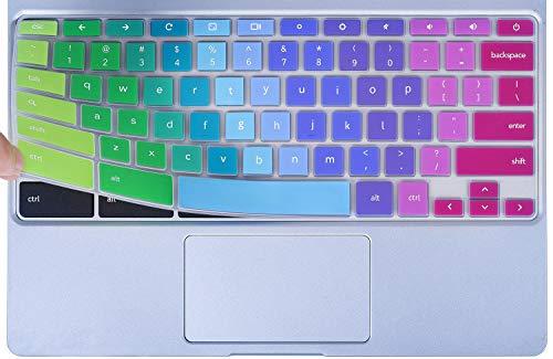 Colorful Keyboard Cover for 2020-2017 Samsung Chromebook 4 3 XE310XBA XE500C13 XE501C13 11.6/Chromebook 4 15.6 XE350XBA/Chromebook 2 XE500C12/Chromebook Plus V2 XE520QAB XE521QAB 12.2, Rainbow