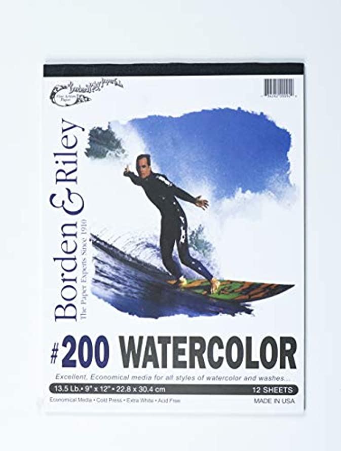 Borden & Riley # 200 Studio Coldpress Watercolor Pad, 9 x 12 Inches, 135 lb, 12 Extra-White Sheets, 1 Pad Each (200P091212)