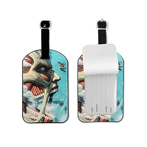 Etiquetas de equipaje de cuero con diseño de ataque de anime a Titan para viaje con funda de privacidad divertida mini etiqueta de equipaje titular de tarjetas de visita y bolsas de viaje