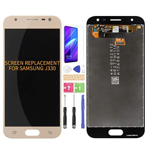 Kit de montage d'écran LCD numériseur de remplacement pour Samsung Galaxy J3 2017 J330 DUOS J330G J330L J330F J330FN J330DS J3300 Film trempé et colle et outils Doré