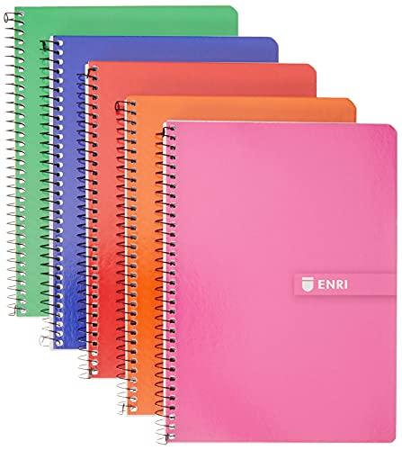 Enri, Cuadernos A5, Pack de 5 Libretas Tapa Dura, 80 Hojas, Cuadrícula 4x4, Surtido Colores Aleatorio