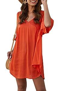 Upopby Women's Summer Oversized V Neck Top Swimsuit Bikini Cover Up Beach Tunic Dress Orange L
