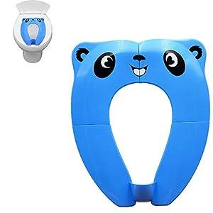 Pejoye Reductor WC Plegable, Asiento Inodoro Niños Material PP con 4 Almohadillas de Silicona Antideslizantes y 1 Bolsa de Transporte Evita la Propagación de Gérmenes (Azul)