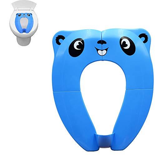 Pejoye Vasino per Bambini, Vasino Portatile da Viaggio Materiale PP con 4 Cuscinetti Antiscivolo In Silicone e 1 Borsa per il Trasporto per Prevenire la Diffusione di Germi (Blu)