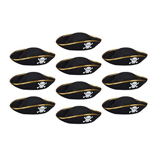 Relaxdays 10 x Piratenhut in Einheitsgröße, Klassischer Dreispitz schwarz für Fasching und Karneval, Mit Totenkopf, black