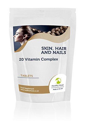 Skin, Hair and Nails 20 Vitamin Complex Vitarenew Food Supplement 120 Tablets Pills Includes Copper, Zinc, Vitamin E, Vitamin C, Biotin and Selenium Nutrition Supplements HEALTHY MOOD