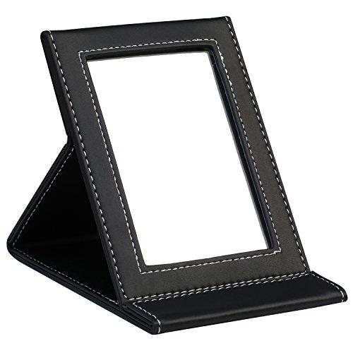 TRIXES Miroir Pliant en Simili Cuir Noir
