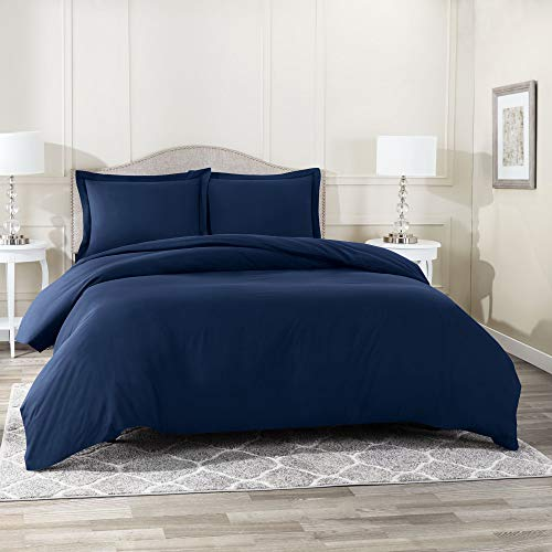 """Nestl Bedding Duvet Cover 3 Piece Set – Ultra Soft Double Brushed Microfiber Hotel Collection – Comforter Cover with Button Closure and 2 Pillow Shams, Navy - Queen 90""""x90"""""""