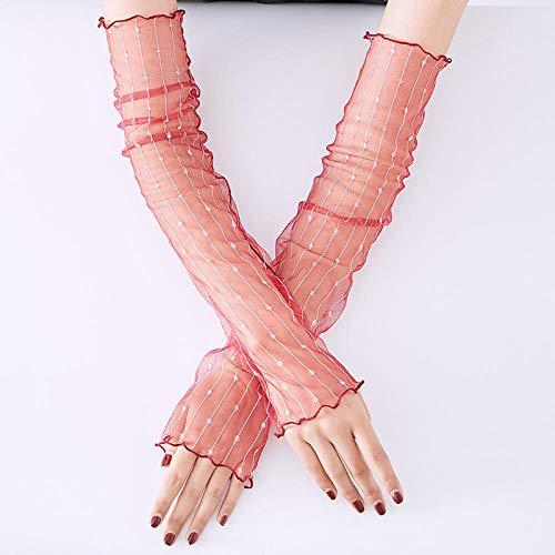 SHOUtao Sommer-Handschuhe, eisige Ärmel, Sonnenschutz, Spitze, lange Ärmel, dünner Armschutz Einheitsgröße Linie rot
