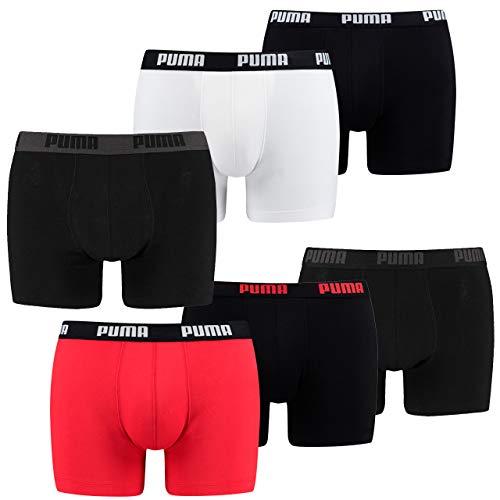 PUMA 6 er Pack Boxer Boxershorts Herren Unterwäsche Schwarz, Bekleidungsgröße:L, Farbe:Weiss/schwarz-rot / 120