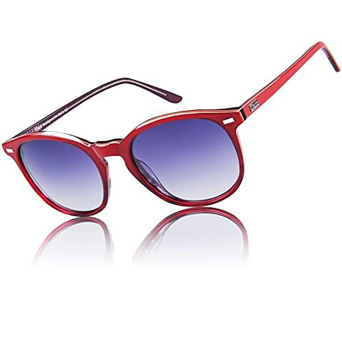 DUCO Retro Polarisierte Damen Sonnenbrille 100% UV400 Schutz Outdoor Brille für Fahren Golf Angeln, Acetat Rahmen 1230 (Rot)