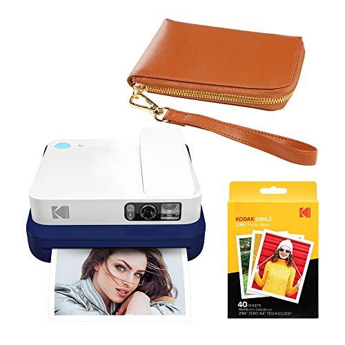 KODAK Smile Classic Digital Instant Camera con Bluetooth (Blu) Marrone Wrislet Kit di trasporto