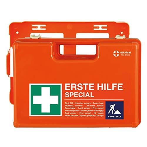 ACTIOMEDIC Erste-Hilfe-Kasten SPECIAL BAUSTELLE, DIN 13 157, Notfallkoffer mit Wandhalterung, mehrsprachige Beschriftung, zusätzliches Zubehör, 42 x 33 x 15 cm