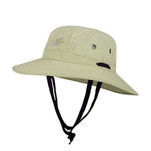 Chapeau Chapeau d'été, Sun Hat Hommes Seau Chapeau Corde Vent Ajustable Étanche Sunshading Ventilate, 4 Couleurs, 3 Tailles en Option (Couleur : Kaki, Taille : 60 cm)