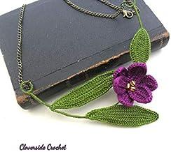 collar boho romantico con flor de azafrán en ganchillo