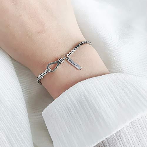 S925 Sterling zilveren Fashion Armband eenvoudige dikke doos ketting Retro Temperament Sieraden Creatieve Leuke Zoete Persoonlijkheid Verjaardagscadeau
