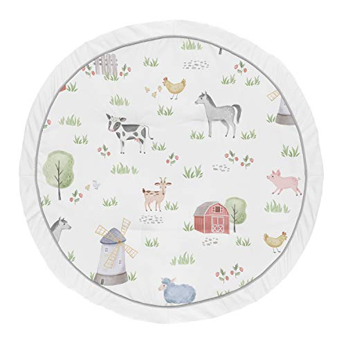 Sweet Jojo Designs Farm Animals Boy Girl Baby Playmat Tummy Time Infant Play Mat - Watercolor Farmhouse Horse Cow Sheep Pig