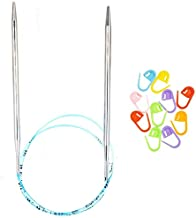 addi Knitting Needles Circular Original Turbo Blue Cord 16 inch (40cm) US 05 (3.75mm) Bundle with 10 Artsiga Crafts Stitch Markers