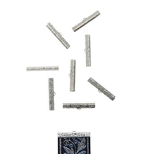 Twilights Fancy 50pcs 38mm or 1 1/2 Platinum Silver Ribbon Clamp End Crimps - Artisan Series